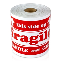 "4"" x 6"" Fragile Handle With Care/This Side Up - Stickers"
