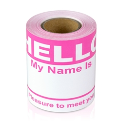 "2-5/16"" x 4 Hello My Name is  Colored Name Badges - Pink"