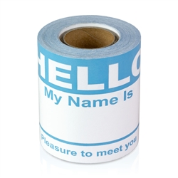 "2-5/16"" x 4 Hello My Name is  Colored Name Badges - Light Blue"