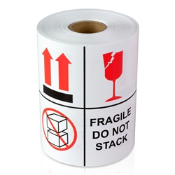 "4"" x 4"" Fragile - Do Not Stack - Stickers"