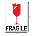"4"" x 3"" Fragile - Glass - Stickers"