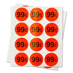"99 Cents Sale Retail Pricing Labels / Round Self Adhesive Stickers (Red Black/ 1"" )"