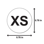 "XS Clothing Size Labels Round Self Adhesive Stickers for Retail Apparel T Shirts  (White Black / .8"" )"