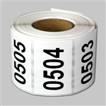 "Consecutive Number Labels Self Adhesive Stickers ""0501 to 1000"" (White Black / 1.5"" x 1"")"
