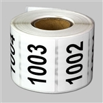 "Consecutive Number Labels Self Adhesive Stickers ""1001 to 1500"" (White Black / 1.5"" x 1"")"