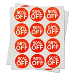 "50% Percent Off Sales Labels Self Adhesive Stickers (Red White / 1"" )"