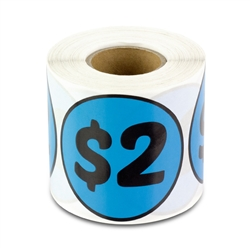 $2 Two Dollars Price Sticker Labels