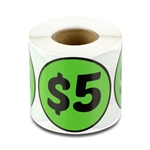 $5 Five Dollars Price Sticker Labels