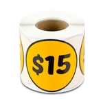 $15 Fifteen Dollars Price Sticker Labels