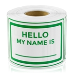"2"" x 3 "" Hello My Name Is Stickers - Green"