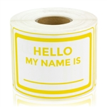 "2"" x 3 "" Hello My Name Is Stickers - Yellow"