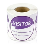 Visitor Name Date Stickers - Purple