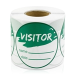 Visitor Name Date Stickers - Green