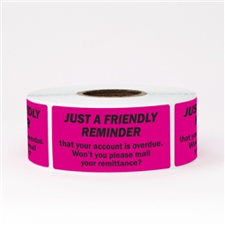 "2"" x 1"" Friendly Reminder Account Overdue Stickers Labels"