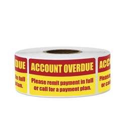 "2"" x 1"" Account Overdue Billing and Collections Stickers Labels"