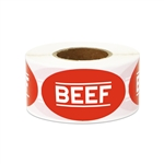 "1.75"" x 1"" Food Labeling: Beef (Red) Stickers Labels"