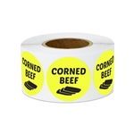 "1"" Food Labeling: Corned Beef (Yellow) Stickers Labels"