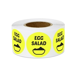 "1"" Food Labeling: Egg Salad (Yellow) Stickers Labels"