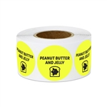 "1"" Food Labeling: Peanut Butter & Jelly Sandwich (Yellow) Stickers Labels"