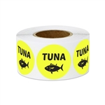 "1"" Food Labeling: Tuna (Yellow) Stickers Labels"