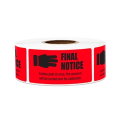 "2.25"" x 1"" Billing & Collections: Final Notice (Red) Stickers Labels"