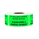 "2"" x 1"" Billing & Collections: Please Send a Partial Payment Stickers Labels"