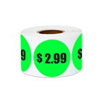 "1.5"" $2.99 Two Dollars and 99 Cents Pricing Stickers Labels"