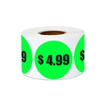 "1.5"" $4.99 Four Dollars and 99 Cents Pricing Stickers Labels"