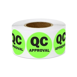 "1"" Quality Control: QC Approval Stickers Labels"