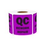 "2"" x 2"" Quality Control: QC Rework Repark Stickers Labels"