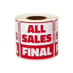 "2"" x 2"" All Sales Final Stickers Labels"