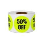 "1.5"" Round 50% OFF Retail Stickers Labels"