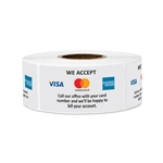 "2"" x 1"" We Accept Visa, Mastercard & American Express Stickers Labels"