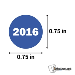 "0.75"" Year 2016 Stickers Labels"