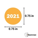 "0.75"" Year 2021 Stickers Labels"