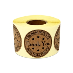 "1.5"" Thank You Handmade with Love Stickers Labels"