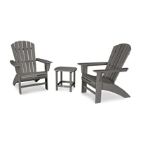 POLYWOOD Nautical Curveback Adirondack 3 peice Set