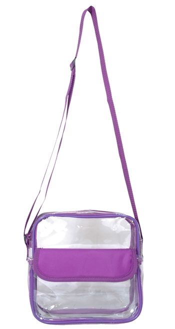 B1050- Clear Messenger Bag with Front Pocket