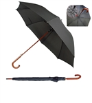 "B1351 - The 60"" Auto Open Wood Shaft and Hook Handle Umbrella"