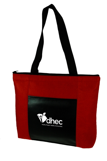 B3104- Velvet Zippered Tote With Front Pocket