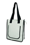 Z3007 - The Heavy White Canvas Tote with Navy Trim