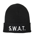 BLACK SWAT KNIT CUFF CAP