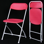 Red  Plastic Folding Chair - Cheap Plastic folding chairs, White Poly Samsonite Folding Chairs, lowest prices folding chairs