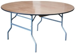 "60"" Round Cheap Plywood Folding Table,  Florida Plywood Folding Tables, Lowest prices folding tables"