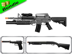 Assault Class Bundle with Dboys M4 wtih Grenade Launcher + M58A Pump Shotgun + Suppressed M22 Spring Pistol