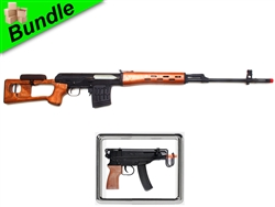 The Red Curtain Bundle with CM057 Real Wood Dragunov SVD Airsoft Sniper Rifle and M37F Submachine Gun Style Spring Gun