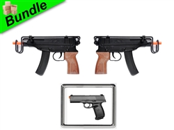 Battlesuit Bundle with Dual M37F Sub-Machine Style Spring Guns with M27B Tactical Spring Pistol