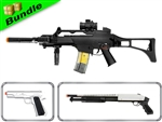 Hired Hit Class Bundle with M85 GX6C with Silencer + M21 Silver Spring Airsoft Pistol + 688S Chrome Pump Shotgun