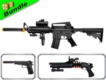 SWAT Assault Team Bundle with M83-B1 M16 Airsoft Electric Gun + M180-A2 Pump Action Shotgun +  M24 1911 Spring Pistol