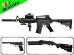 SWAT Assault Team Bundle with M83-B1 M16 Airsoft Electric Gun + M180-C2 Pump Action Shotgun +  M24 1911 Spring Pistol